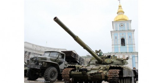 Military vehicles, weapons, ammunition that Russia uses in Donbas are on show in Kyiv