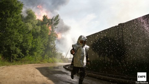 Oil depot fire in Kyiv suburbs: Photo report