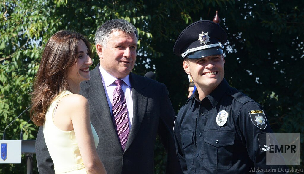 Minister of Internal Affairs Arsen Avakov, First Deputy Minister of Internal Affairs of Ukraine Eka Zguladze and Head of Kyiv Patrol Police Oleksandr Fatsevych