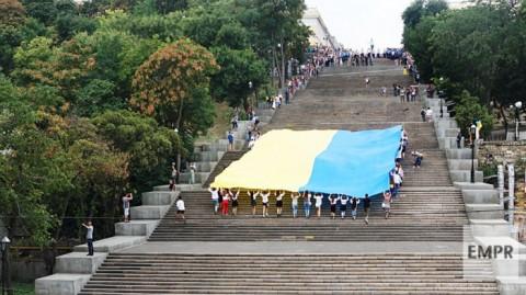 Odessa traditionally unfolds huge Ukrainian flag