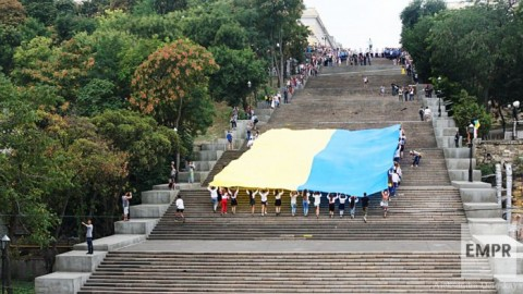 Odessa traditionally unfolds huge Ukrainian flag