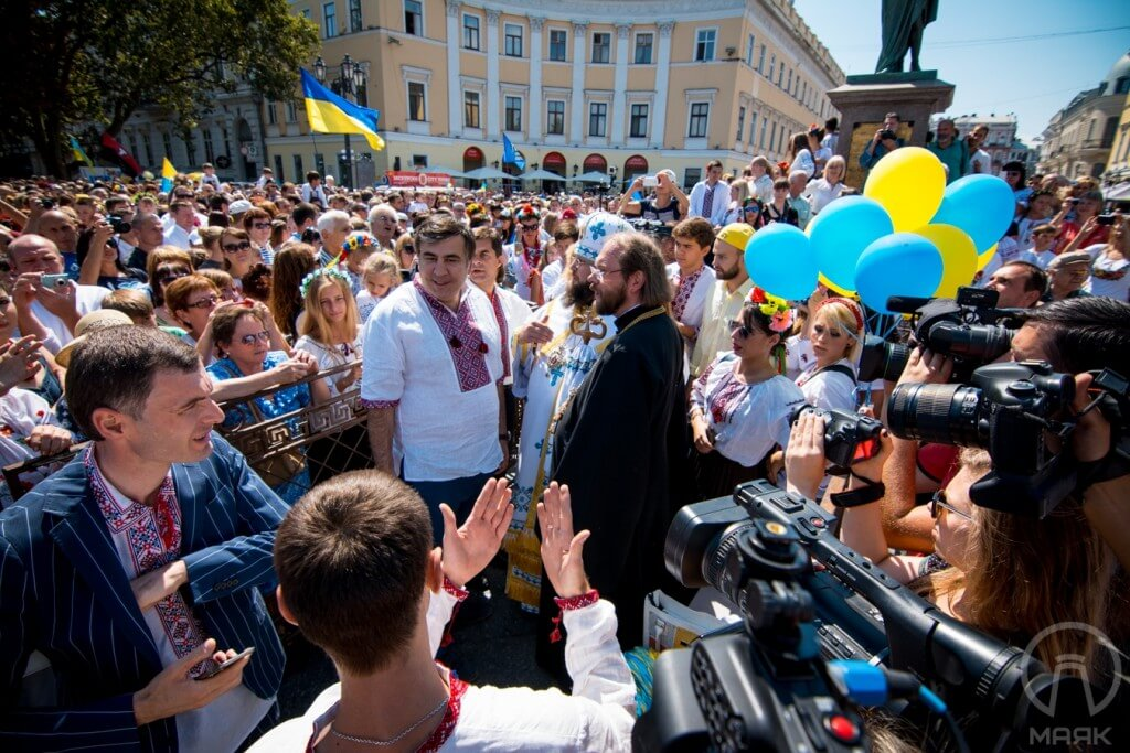 The governor of the Odessa oblast and ex-president of Gerogia Mikheil Saakashvili was also among participants: