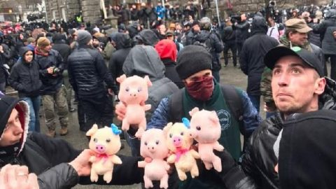 Toy pigs against curruption in Ukraine defense sector