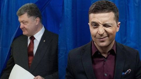 Comedian Zelenskyi and the actual President of Ukraine Petro Poroshenko top the election race