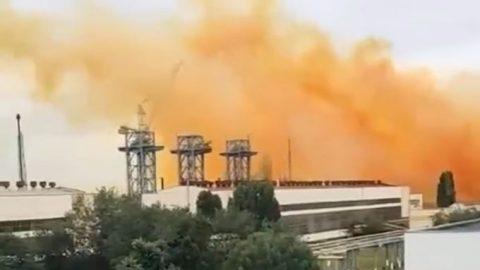 Brown smoke rose over Rivne Azot plant